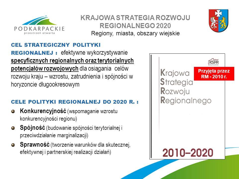 Przyjęta przez RM - 2010 r. KRAJOWA STRATEGIA ROZWOJU REGIONALNEGO 2020 Regiony, miasta, obszary wiejskie CEL STRATEGICZNY POLITYKI REGIONALNEJ : efek