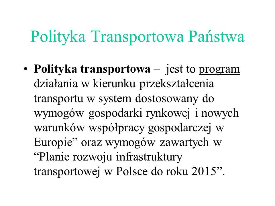 Polityka Transportowa Państwa Polityka transportowa – jest to program działania w kierunku przekształcenia transportu w system dostosowany do wymogów gospodarki rynkowej i nowych warunków współpracy gospodarczej w Europie oraz wymogów zawartych w Planie rozwoju infrastruktury transportowej w Polsce do roku 2015 .