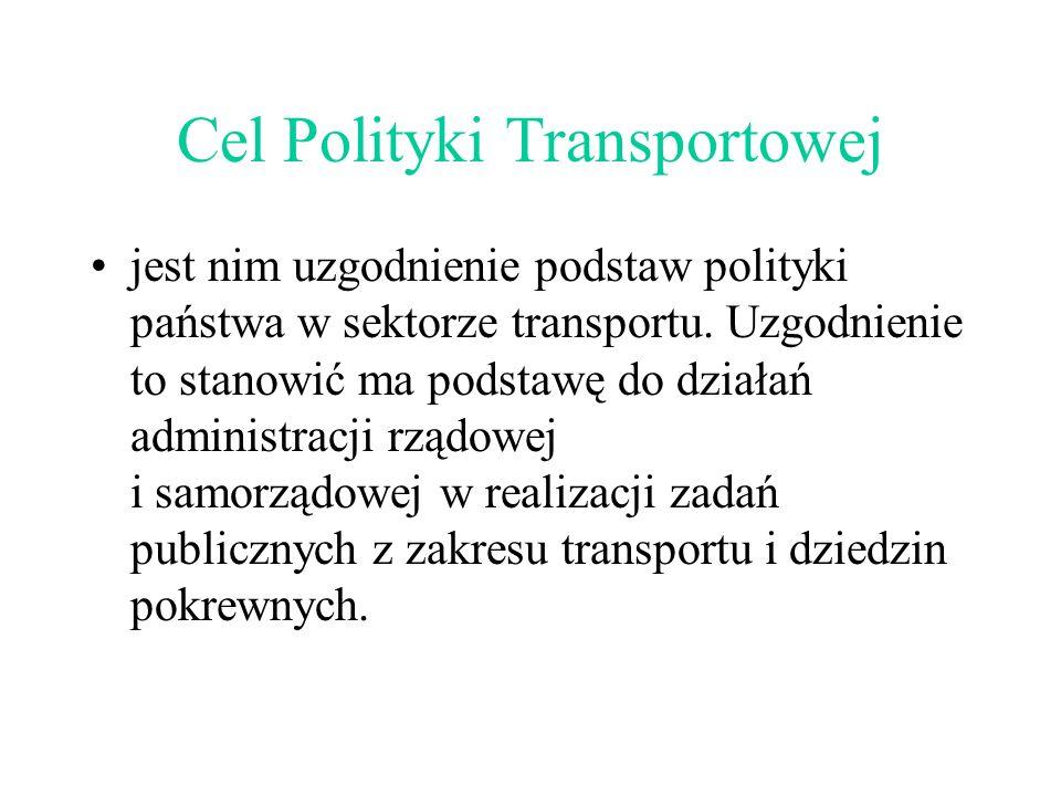 Cel Polityki Transportowej jest nim uzgodnienie podstaw polityki państwa w sektorze transportu.