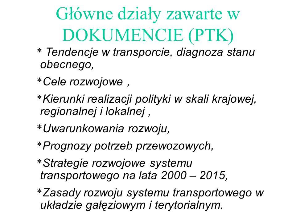 Główne działy zawarte w DOKUMENCIE (PTK) * Tendencje w transporcie, diagnoza stanu obecnego, * Cele rozwojowe, * Kierunki realizacji polityki w skali krajowej, regionalnej i lokalnej, * Uwarunkowania rozwoju, * Prognozy potrzeb przewozowych, * Strategie rozwojowe systemu transportowego na lata 2000 – 2015, * Zasady rozwoju systemu transportowego w układzie gałęziowym i terytorialnym.