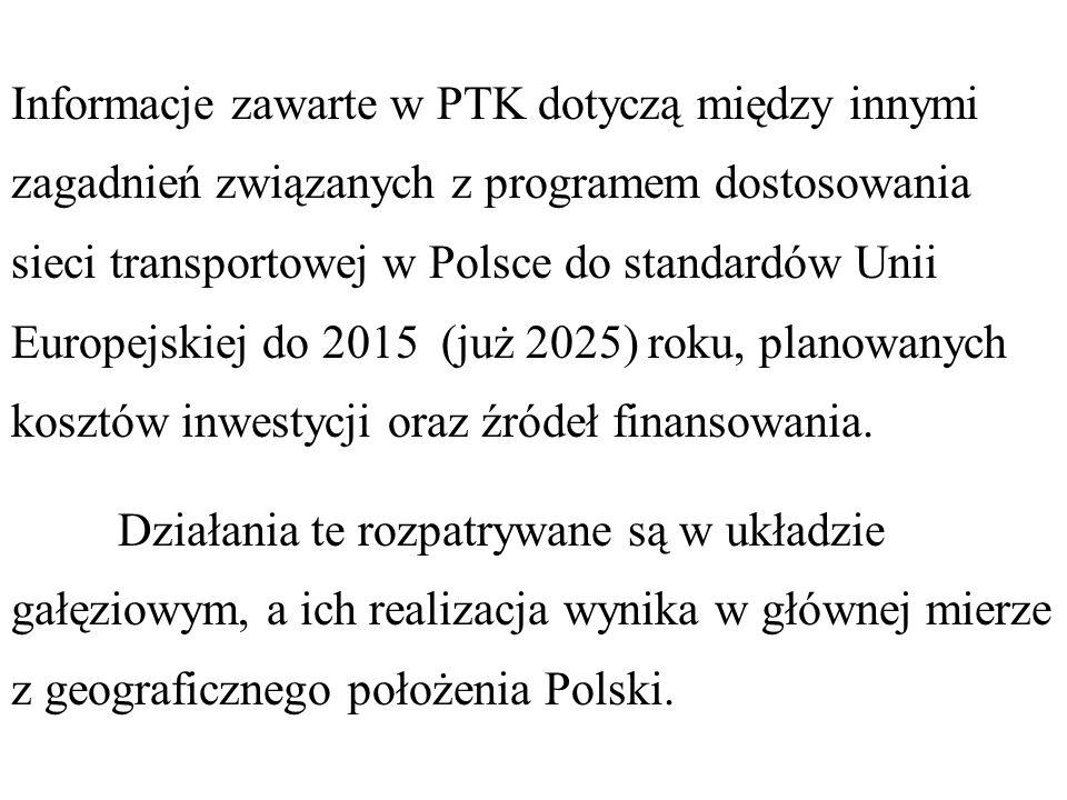 Informacje zawarte w PTK dotyczą między innymi zagadnień związanych z programem dostosowania sieci transportowej w Polsce do standardów Unii Europejskiej do 2015 (już 2025) roku, planowanych kosztów inwestycji oraz źródeł finansowania.