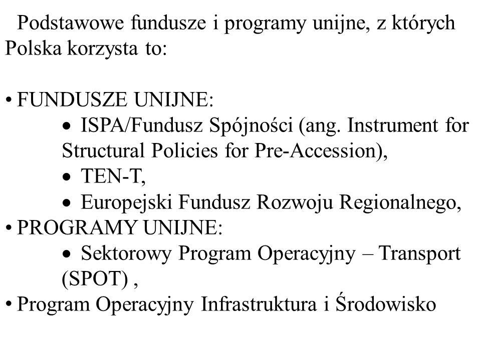 Podstawowe fundusze i programy unijne, z których Polska korzysta to: FUNDUSZE UNIJNE:  ISPA/Fundusz Spójności (ang.