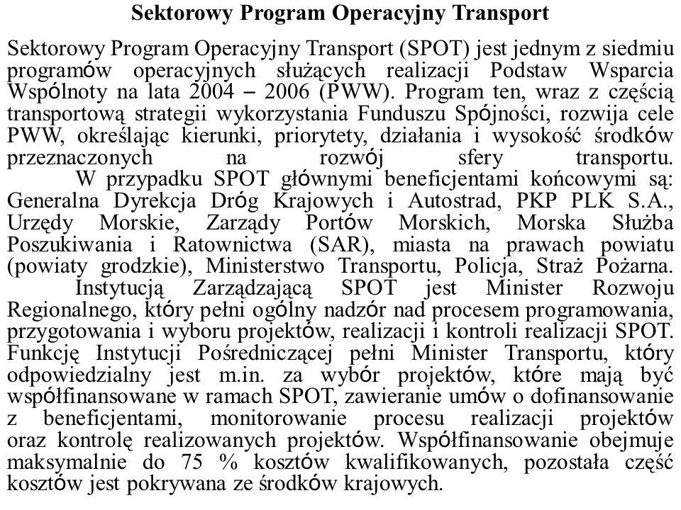 Sektorowy Program Operacyjny Transport Sektorowy Program Operacyjny Transport (SPOT) jest jednym z siedmiu program ó w operacyjnych służących realizacji Podstaw Wsparcia Wsp ó lnoty na lata 2004 – 2006 (PWW).