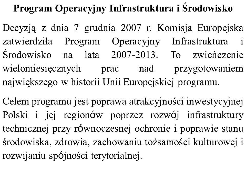 Program Operacyjny Infrastruktura i Środowisko Decyzją z dnia 7 grudnia 2007 r.