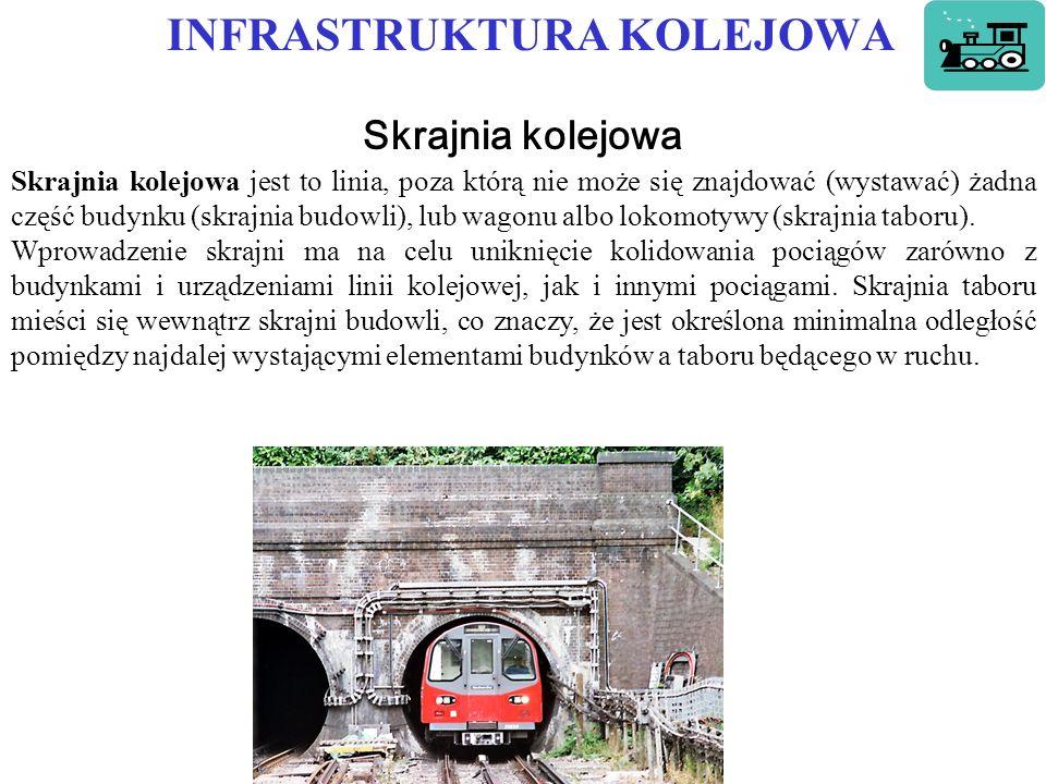 INFRASTRUKTURA KOLEJOWA Skrajnia kolejowa Skrajnia kolejowa jest to linia, poza którą nie może się znajdować (wystawać) żadna część budynku (skrajnia budowli), lub wagonu albo lokomotywy (skrajnia taboru).