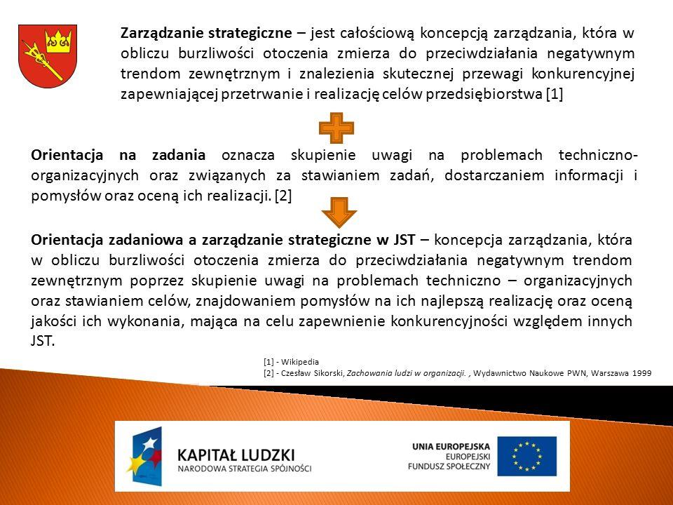Zarządzanie strategiczne – jest całościową koncepcją zarządzania, która w obliczu burzliwości otoczenia zmierza do przeciwdziałania negatywnym trendom zewnętrznym i znalezienia skutecznej przewagi konkurencyjnej zapewniającej przetrwanie i realizację celów przedsiębiorstwa [1] Orientacja na zadania oznacza skupienie uwagi na problemach techniczno- organizacyjnych oraz związanych za stawianiem zadań, dostarczaniem informacji i pomysłów oraz oceną ich realizacji.