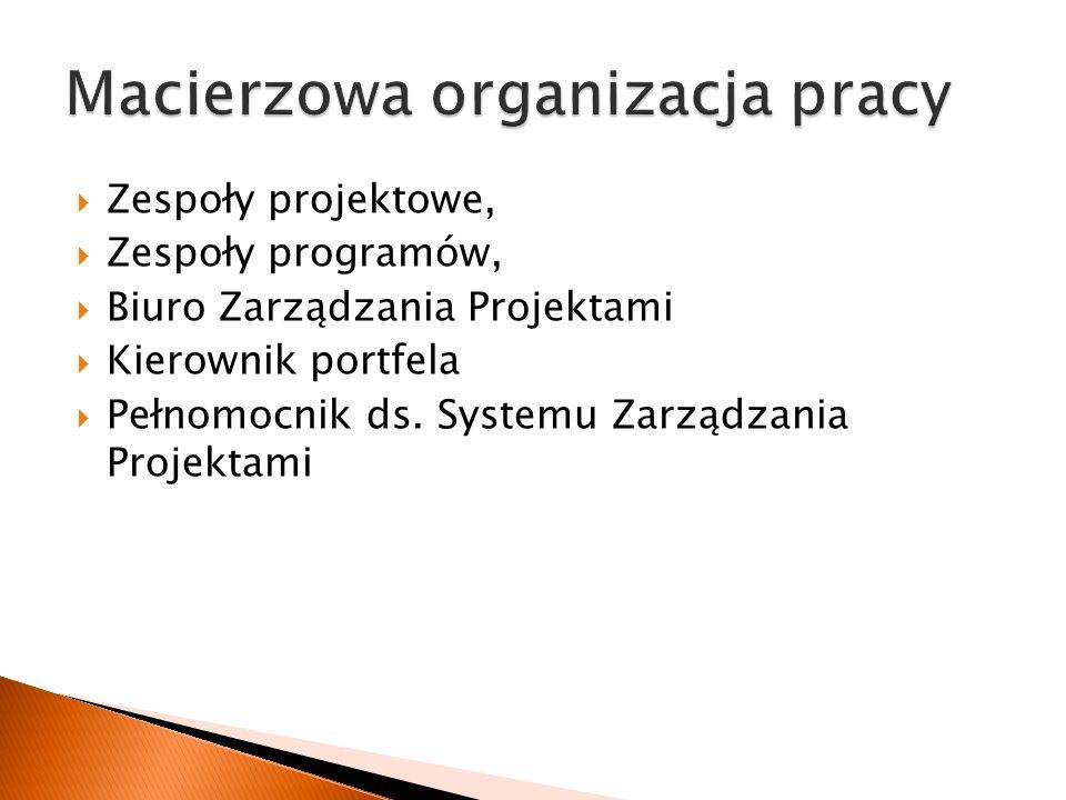  Zespoły projektowe,  Zespoły programów,  Biuro Zarządzania Projektami  Kierownik portfela  Pełnomocnik ds.