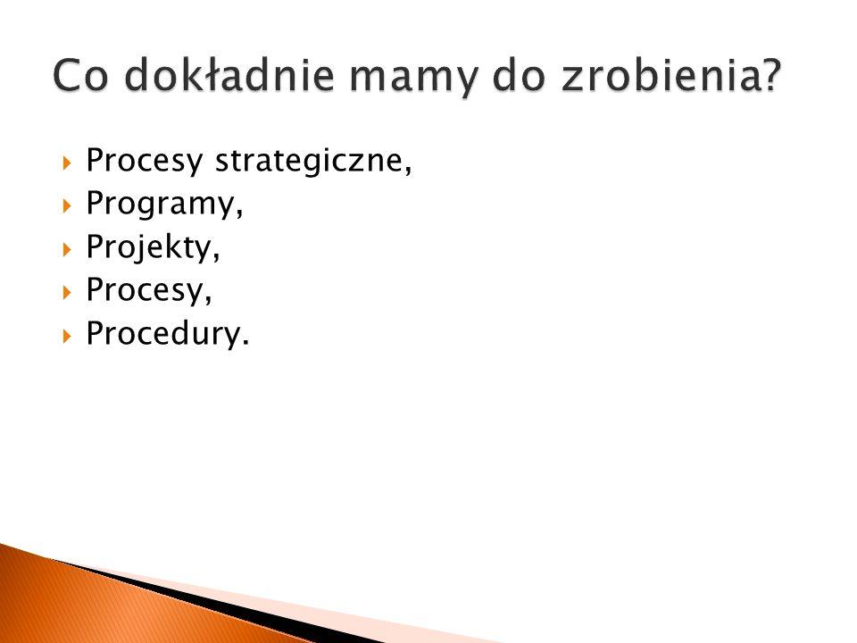  Procesy strategiczne,  Programy,  Projekty,  Procesy,  Procedury.