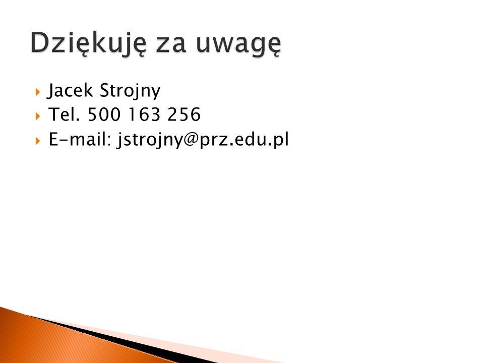  Jacek Strojny  Tel. 500 163 256  E-mail: jstrojny@prz.edu.pl