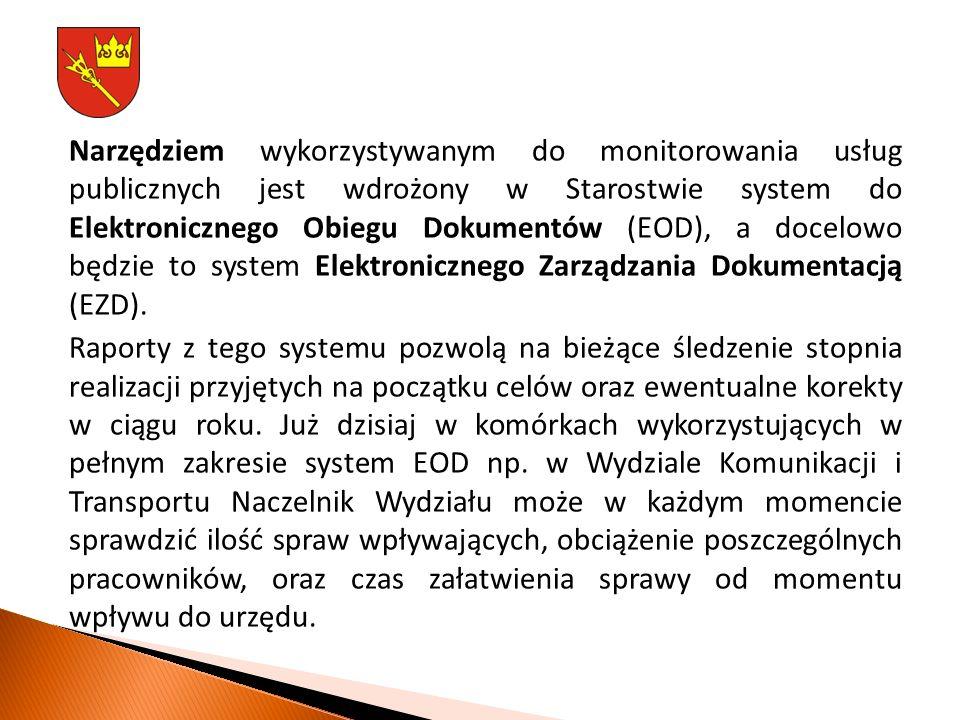 Narzędziem wykorzystywanym do monitorowania usług publicznych jest wdrożony w Starostwie system do Elektronicznego Obiegu Dokumentów (EOD), a docelowo będzie to system Elektronicznego Zarządzania Dokumentacją (EZD).