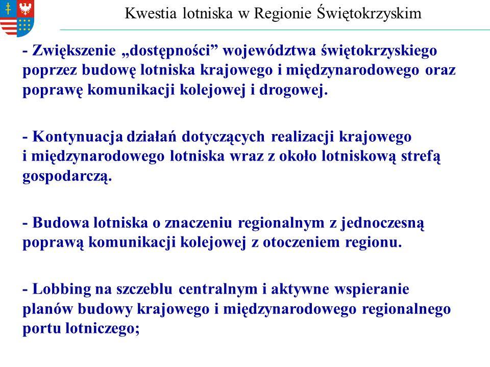 """Kwestia lotniska w Regionie Świętokrzyskim - Zwiększenie """"dostępności województwa świętokrzyskiego poprzez budowę lotniska krajowego i międzynarodowego oraz poprawę komunikacji kolejowej i drogowej."""