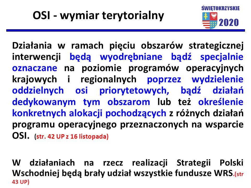 OSI - wymiar terytorialny Działania w ramach pięciu obszarów strategicznej interwencji będą wyodrębniane bądź specjalnie oznaczane na poziomie program