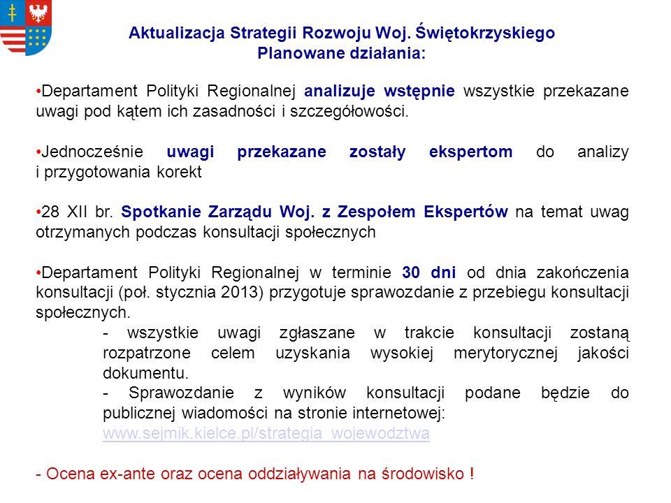 Aktualizacja Strategii Rozwoju Woj. Świętokrzyskiego Planowane działania: Departament Polityki Regionalnej analizuje wstępnie wszystkie przekazane uwa