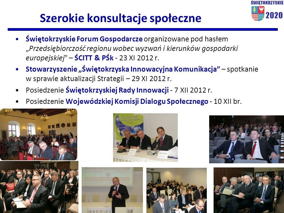"""Szerokie konsultacje społeczne Świętokrzyskie Forum Gospodarcze organizowane pod hasłem """"Przedsiębiorczość regionu wobec wyzwań i kierunków gospodarki europejskiej – ŚCITT & PŚk - 23 XI 2012 r."""