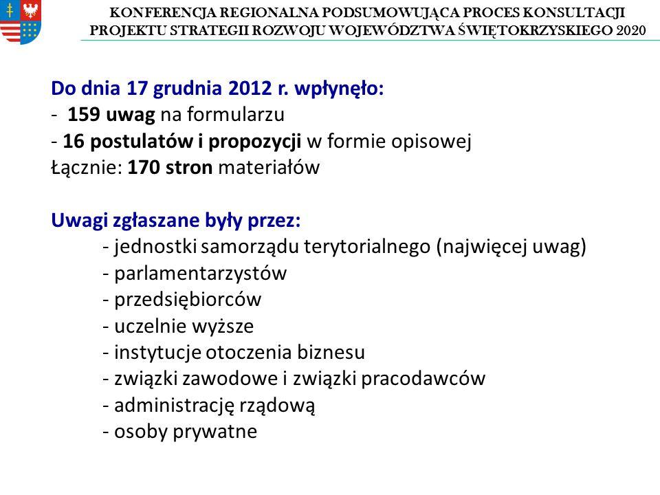 KONFERENCJA REGIONALNA PODSUMOWUJ Ą CA PROCES KONSULTACJI PROJEKTU STRATEGII ROZWOJU WOJEWÓDZTWA Ś WI Ę TOKRZYSKIEGO 2020 Do dnia 17 grudnia 2012 r.