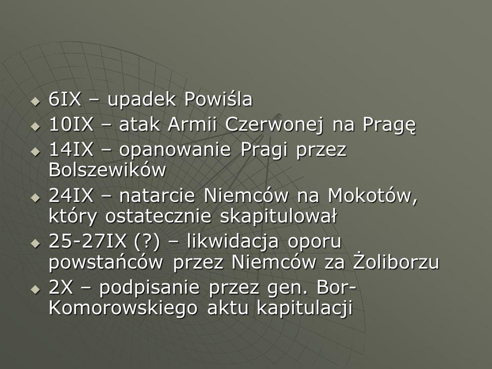  6IX – upadek Powiśla  10IX – atak Armii Czerwonej na Pragę  14IX – opanowanie Pragi przez Bolszewików  24IX – natarcie Niemców na Mokotów, który ostatecznie skapitulował  25-27IX ( ) – likwidacja oporu powstańców przez Niemców za Żoliborzu  2X – podpisanie przez gen.