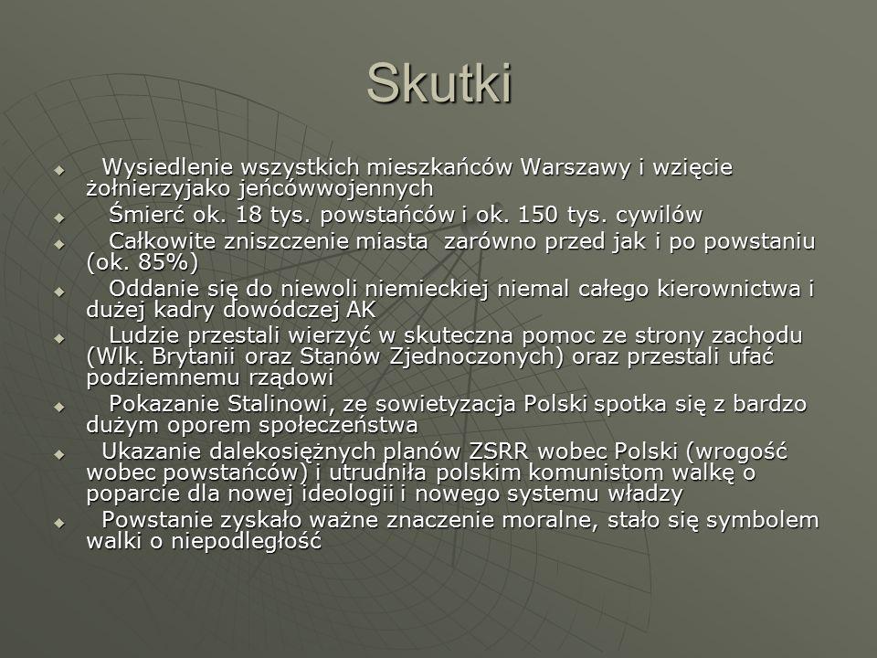 Skutki  Wysiedlenie wszystkich mieszkańców Warszawy i wzięcie żołnierzyjako jeńcówwojennych  Śmierć ok.