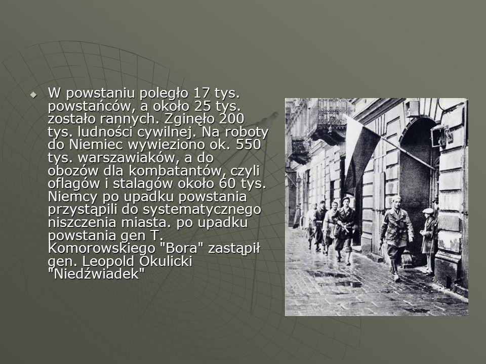  W powstaniu poległo 17 tys.powstańców, a około 25 tys.