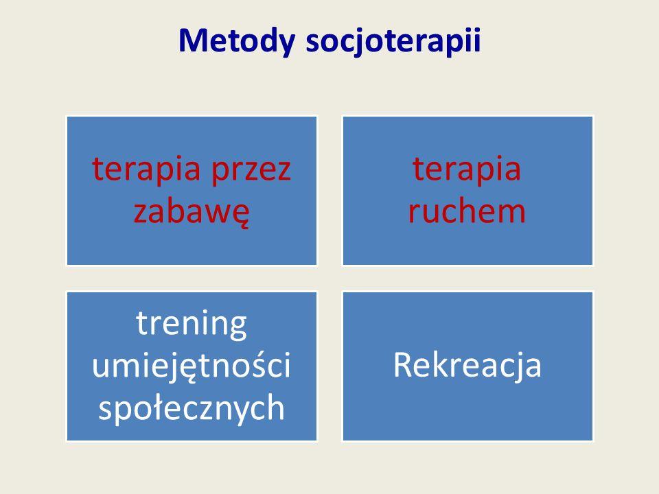Metody socjoterapii terapia przez zabawę terapia ruchem trening umiejętności społecznych Rekreacja