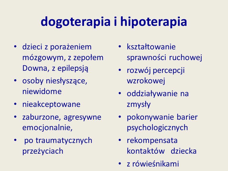 dogoterapia i hipoterapia dzieci z porażeniem mózgowym, z zepołem Downa, z epilepsją osoby niesłyszące, niewidome nieakceptowane zaburzone, agresywne