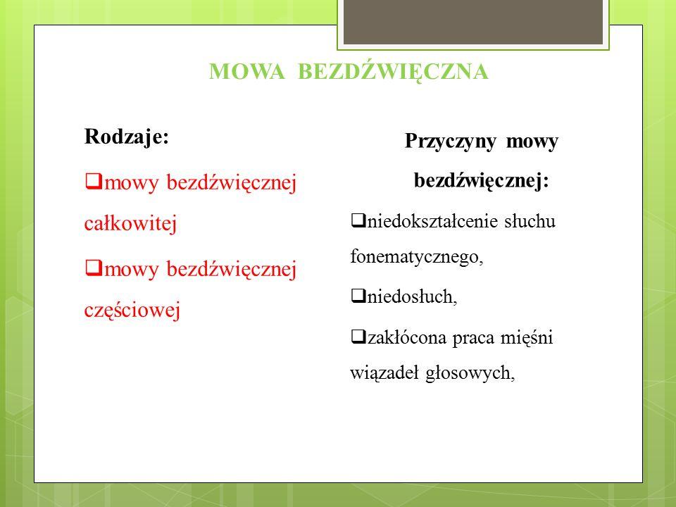 MOWA BEZDŹWIĘCZNA Rodzaje:  mowy bezdźwięcznej całkowitej  mowy bezdźwięcznej częściowej Przyczyny mowy bezdźwięcznej:  niedokształcenie słuchu fon