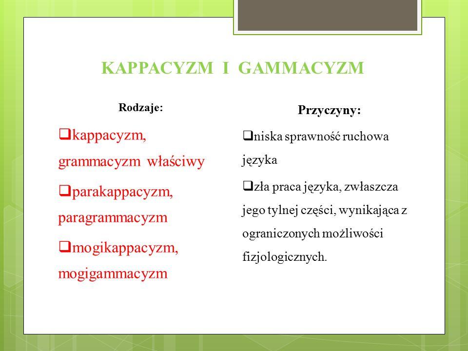 KAPPACYZM I GAMMACYZM Rodzaje:  kappacyzm, grammacyzm właściwy  parakappacyzm, paragrammacyzm  mogikappacyzm, mogigammacyzm Przyczyny:  niska spra