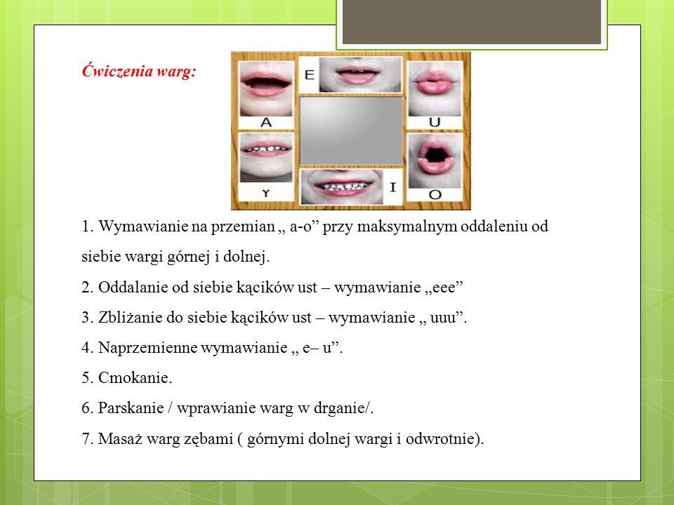 """Ćwiczenia warg: 1. Wymawianie na przemian """" a-o"""" przy maksymalnym oddaleniu od siebie wargi górnej i dolnej. 2. Oddalanie od siebie kącików ust – wyma"""