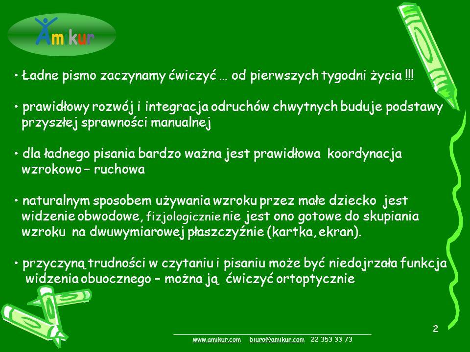 2 _________________________________________________ www.amikur.comwww.amikur.com biuro@amikur.com 22 353 33 73biuro@amikur.com Ładne pismo zaczynamy ćwiczyć … od pierwszych tygodni życia !!.