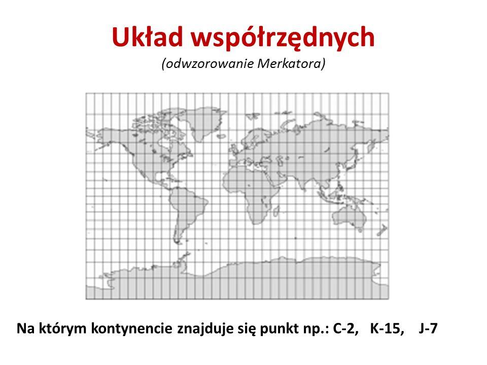 Układ współrzędnych (odwzorowanie Merkatora) Na którym kontynencie znajduje się punkt np.: C-2, K-15, J-7