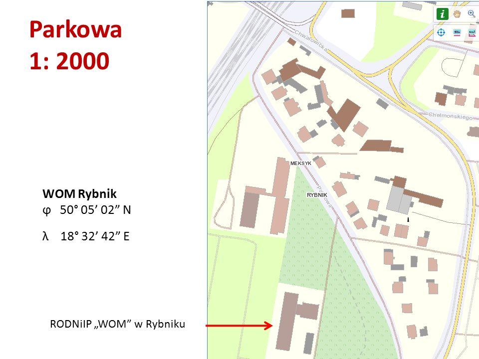 "Parkowa 1: 2000 RODNiIP ""WOM"" w Rybniku WOM Rybnik ϕ 50° 05' 02"" N λ 18° 32' 42"" E"