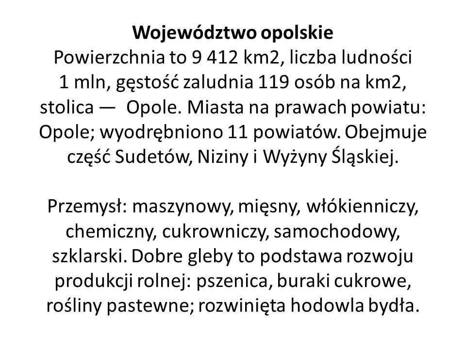 Województwo opolskie Powierzchnia to 9 412 km2, liczba ludności 1 mln, gęstość zaludnia 119 osób na km2, stolica — Opole.