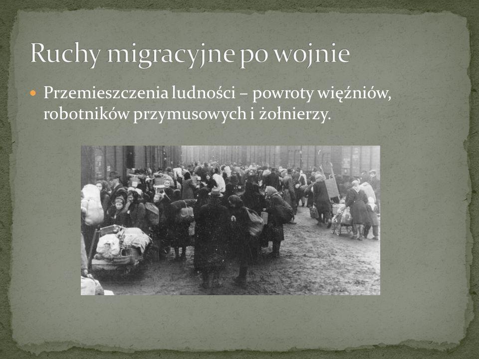 Przemieszczenia ludności – powroty więźniów, robotników przymusowych i żołnierzy.