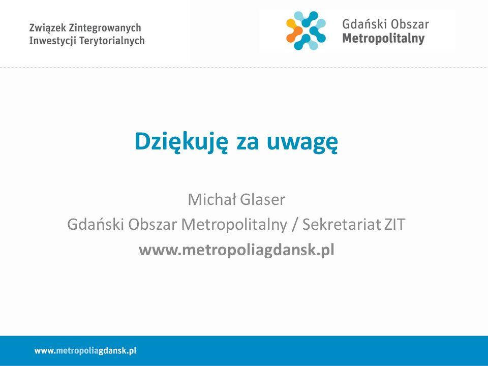 Dziękuję za uwagę Michał Glaser Gdański Obszar Metropolitalny / Sekretariat ZIT www.metropoliagdansk.pl
