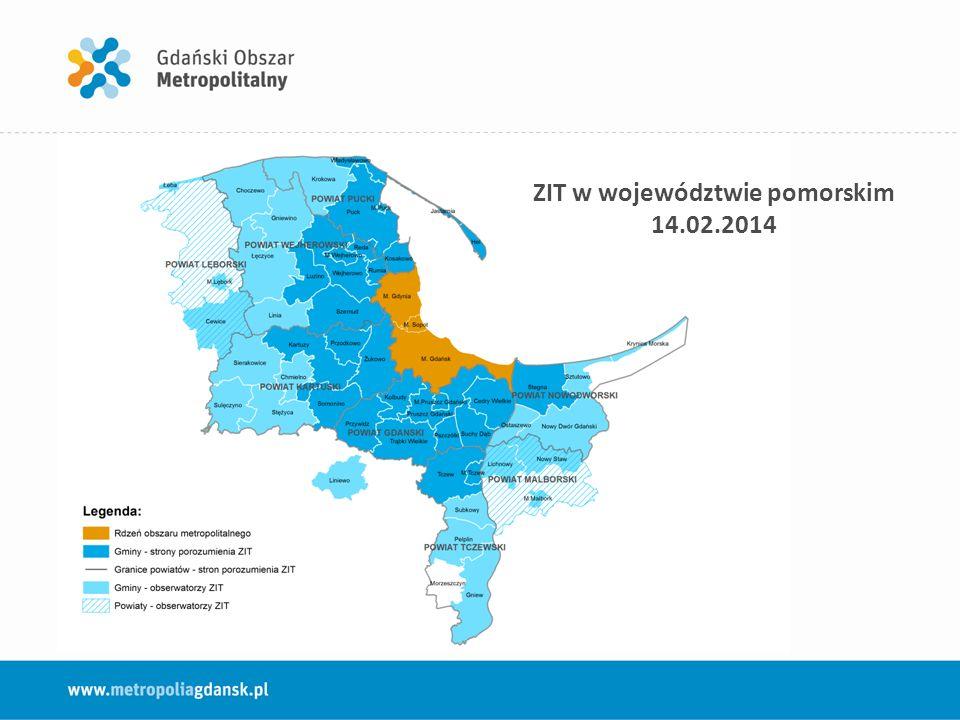 ZIT w województwie pomorskim – forma współpracy 2014-2015 Porozumienie podpisane 14 lutego 2014 r.