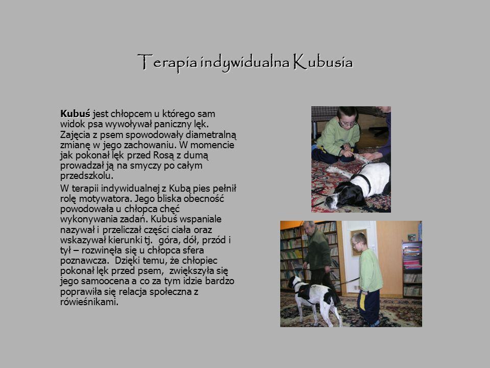Terapia indywidualna Kubusia Kubuś Kubuś jest chłopcem u którego sam widok psa wywoływał paniczny lęk. Zajęcia z psem spowodowały diametralną zmianę w