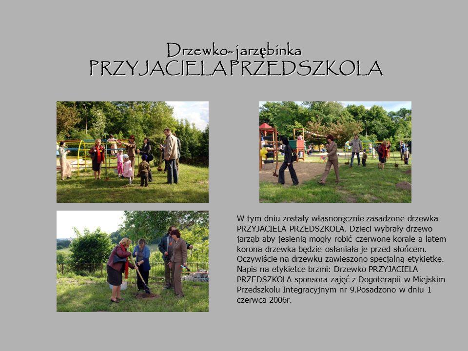 Drzewko- jarz ę binka PRZYJACIELA PRZEDSZKOLA W tym dniu zostały własnoręcznie zasadzone drzewka PRZYJACIELA PRZEDSZKOLA. Dzieci wybrały drzewo jarząb