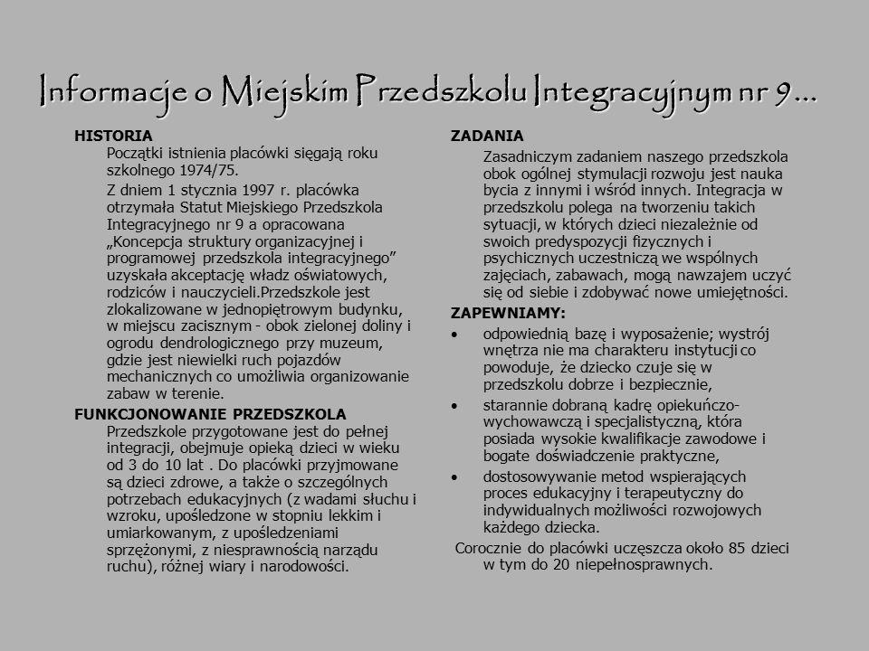 Informacje o Miejskim Przedszkolu Integracyjnym nr 9... HISTORIA Początki istnienia placówki sięgają roku szkolnego 1974/75. Z dniem 1 stycznia 1997 r