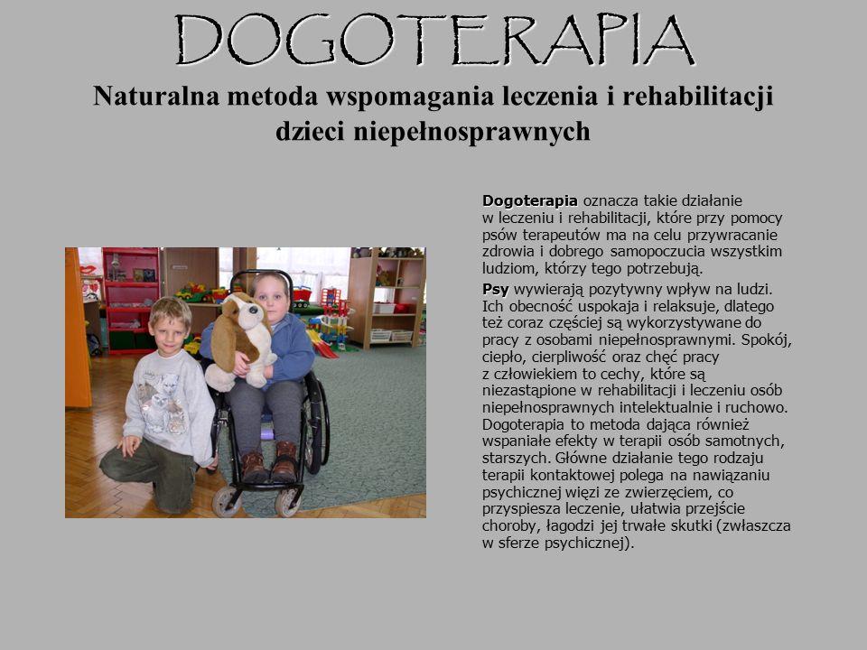 DOGOTERAPIA DOGOTERAPIA Naturalna metoda wspomagania leczenia i rehabilitacji dzieci niepełnosprawnych Dogoterapia Dogoterapia oznacza takie działanie