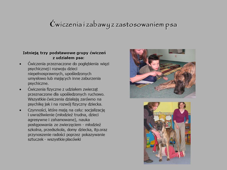 Ć wiczenia i zabawy z zastosowaniem psa Istnieją trzy podstawowe grupy ćwiczeń z udziałem psa: Ćwiczenia przeznaczone do pogłębienia więzi psychicznej