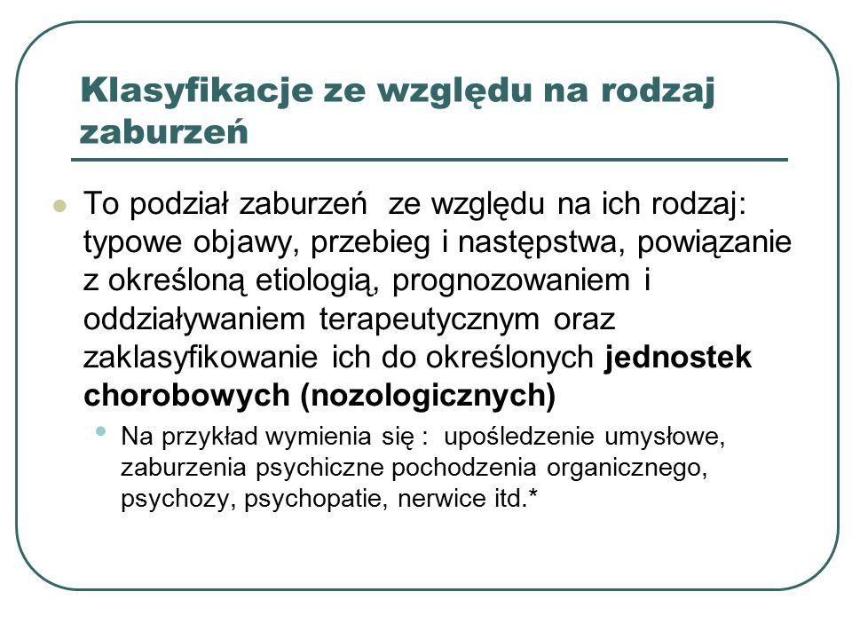Klasyfikacje ze względu na rodzaj zaburzeń To podział zaburzeń ze względu na ich rodzaj: typowe objawy, przebieg i następstwa, powiązanie z określoną