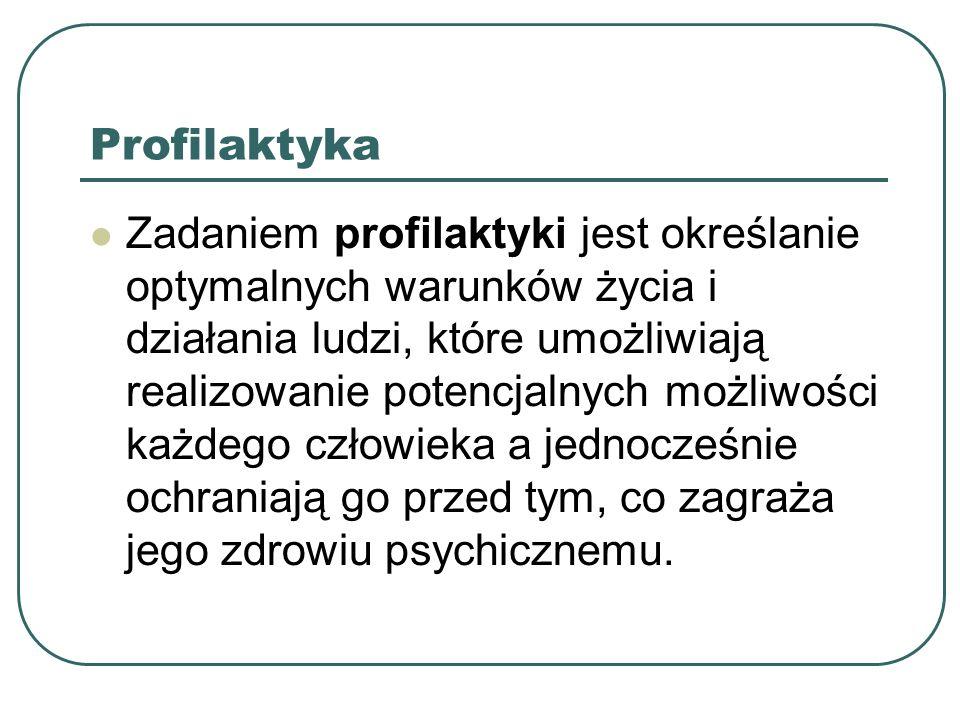Profilaktyka Zadaniem profilaktyki jest określanie optymalnych warunków życia i działania ludzi, które umożliwiają realizowanie potencjalnych możliwoś