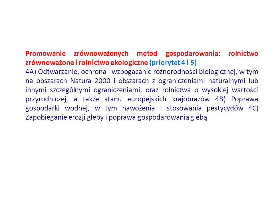 Promowanie zrównoważonych metod gospodarowania: rolnictwo zrównoważone i rolnictwo ekologiczne (priorytet 4 i 5) 4A) Odtwarzanie, ochrona i wzbogacanie różnorodności biologicznej, w tym na obszarach Natura 2000 i obszarach z ograniczeniami naturalnymi lub innymi szczególnymi ograniczeniami, oraz rolnictwa o wysokiej wartości przyrodniczej, a także stanu europejskich krajobrazów 4B) Poprawa gospodarki wodnej, w tym nawożenia i stosowania pestycydów 4C) Zapobieganie erozji gleby i poprawa gospodarowania glebą