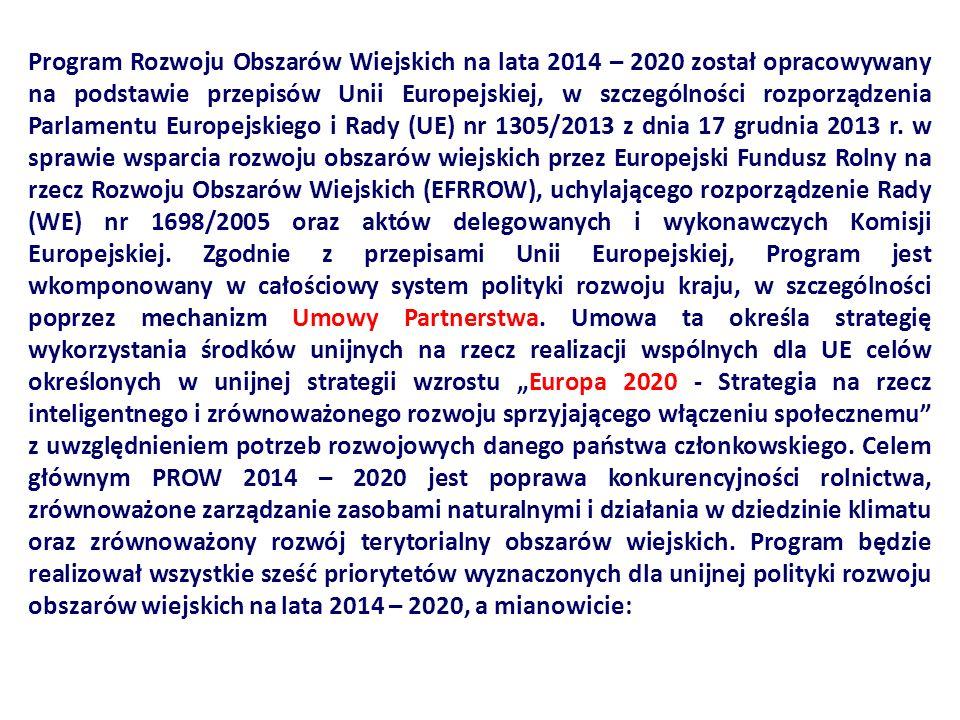 Program Rozwoju Obszarów Wiejskich na lata 2014 – 2020 został opracowywany na podstawie przepisów Unii Europejskiej, w szczególności rozporządzenia Parlamentu Europejskiego i Rady (UE) nr 1305/2013 z dnia 17 grudnia 2013 r.