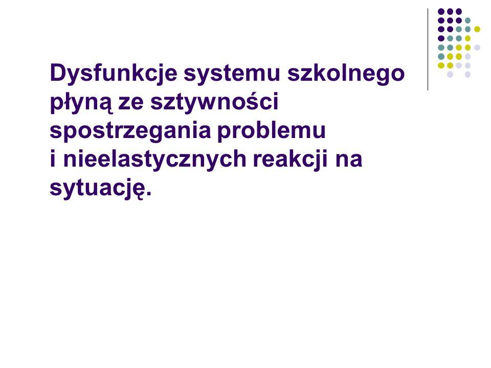 Dysfunkcje systemu szkolnego płyną ze sztywności spostrzegania problemu i nieelastycznych reakcji na sytuację.