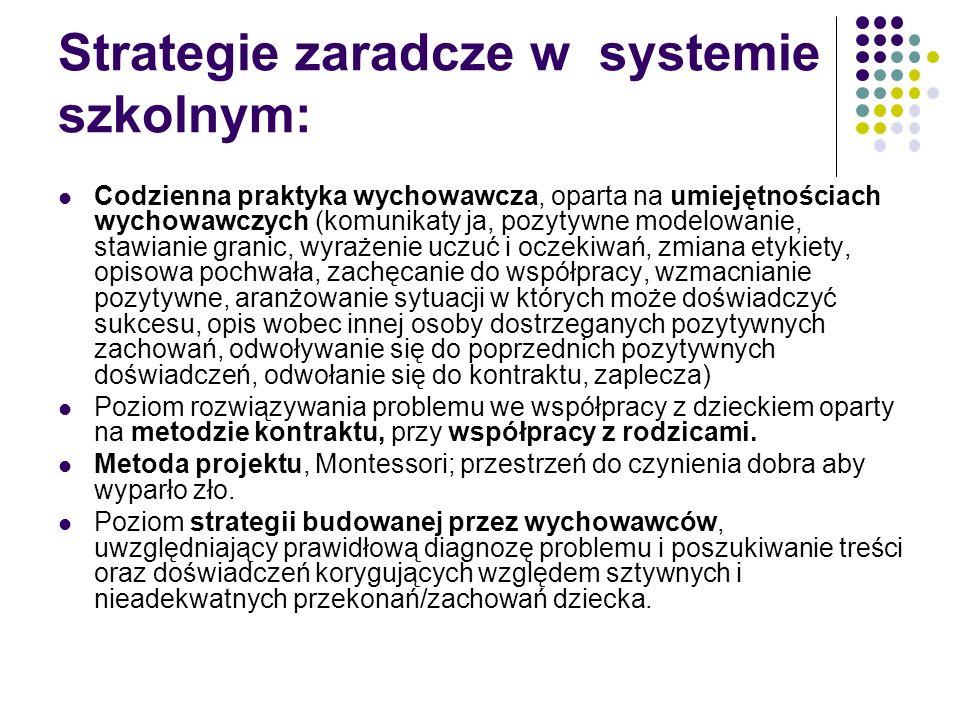 Strategie zaradcze w systemie szkolnym: Codzienna praktyka wychowawcza, oparta na umiejętnościach wychowawczych (komunikaty ja, pozytywne modelowanie,