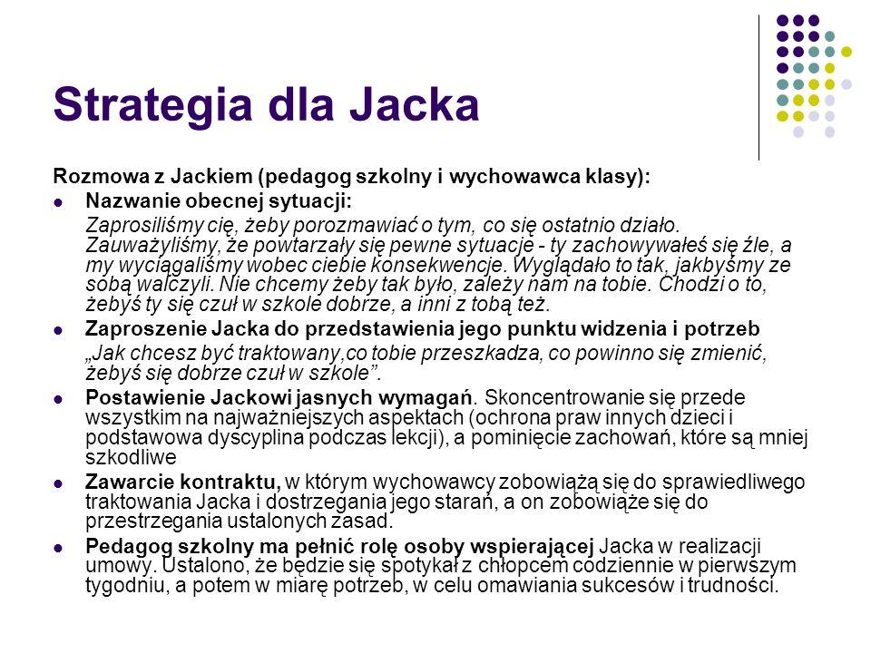 Strategia dla Jacka Rozmowa z Jackiem (pedagog szkolny i wychowawca klasy): Nazwanie obecnej sytuacji: Zaprosiliśmy cię, żeby porozmawiać o tym, co si