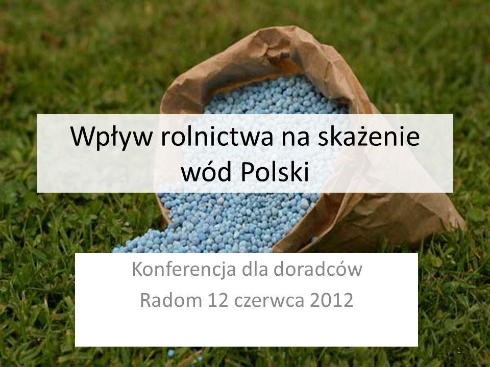 Wpływ rolnictwa na skażenie wód Polski Konferencja dla doradców Radom 12 czerwca 2012 1