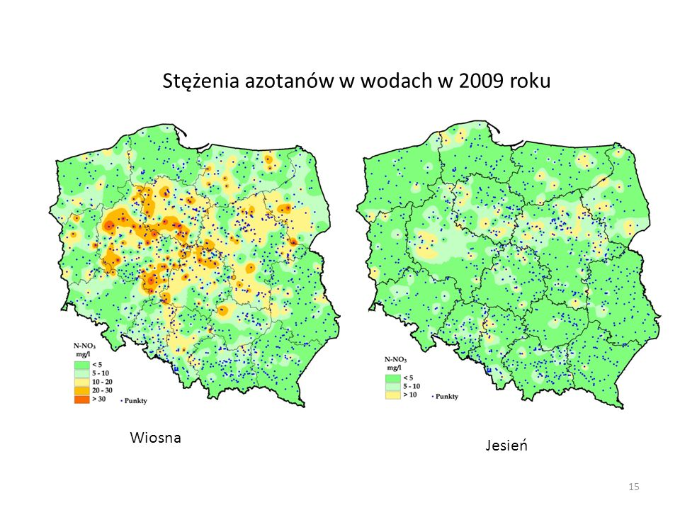 Stężenia azotanów w wodach w 2009 roku Wiosna Jesień 15
