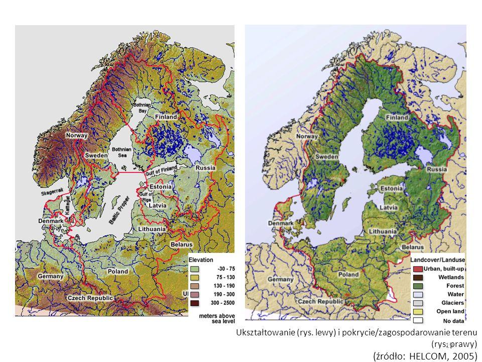 Ukształtowanie (rys. lewy) i pokrycie/zagospodarowanie terenu (rys. prawy) (źródło: HELCOM, 2005) 19