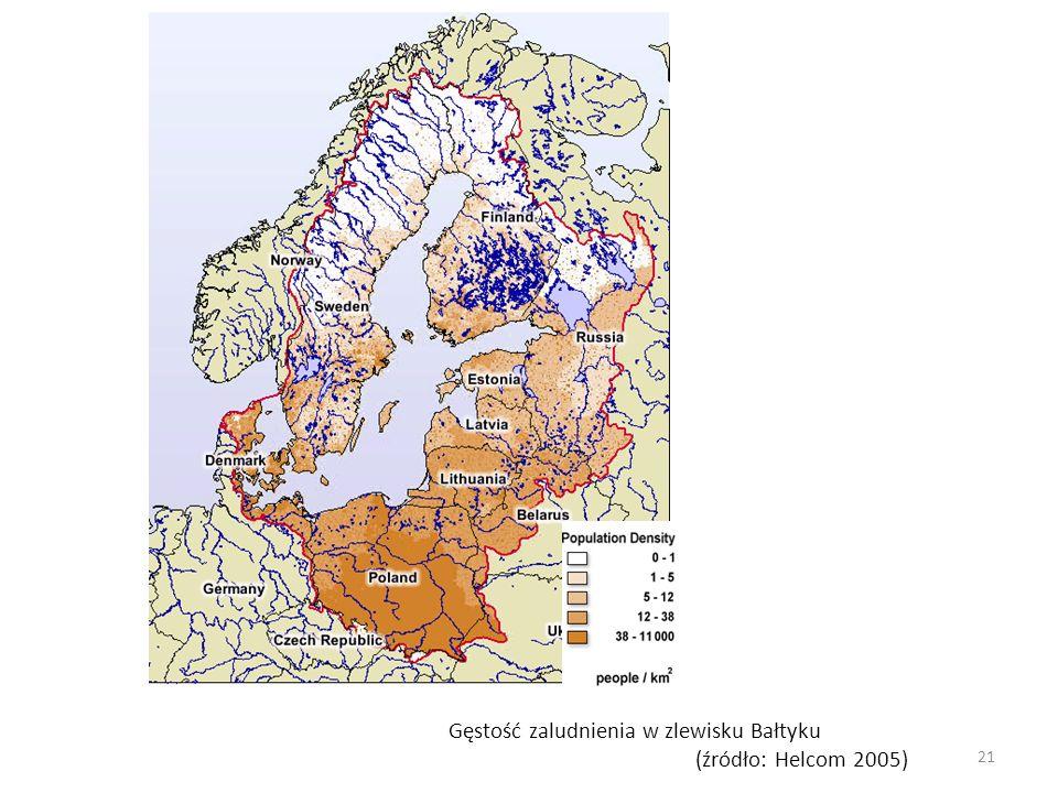 Gęstość zaludnienia w zlewisku Bałtyku (źródło: Helcom 2005) 21